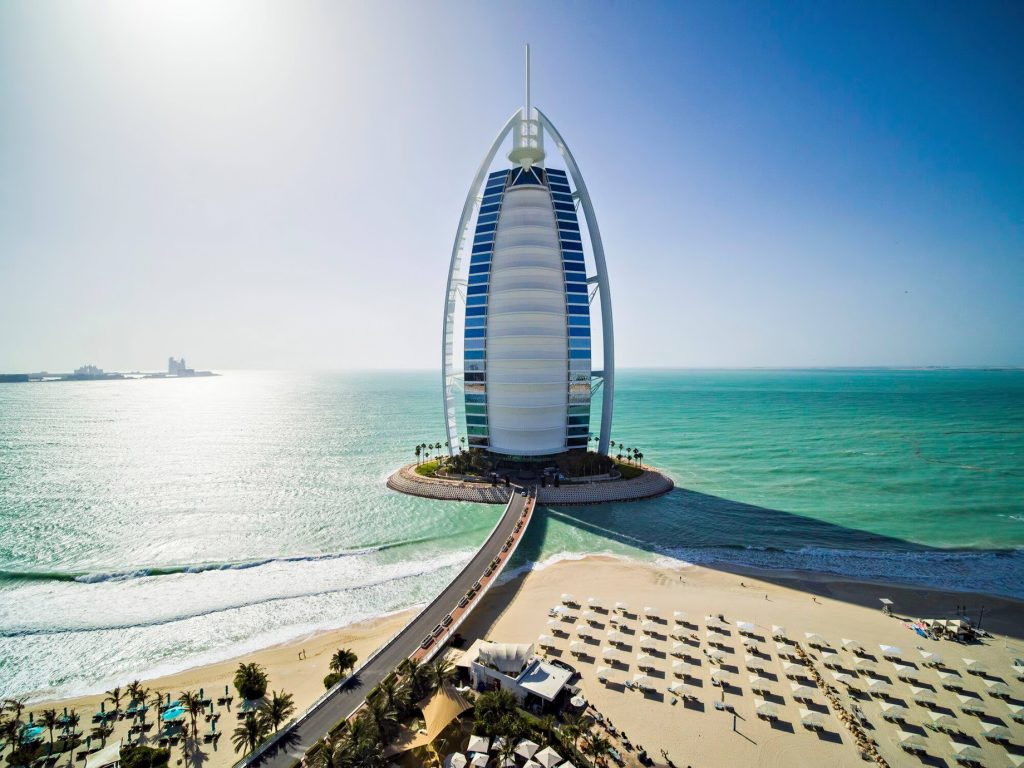 Burj Al Arab Luxury Hotel - Jumeirah St, Dubai, UAE - Ocean View Aerial