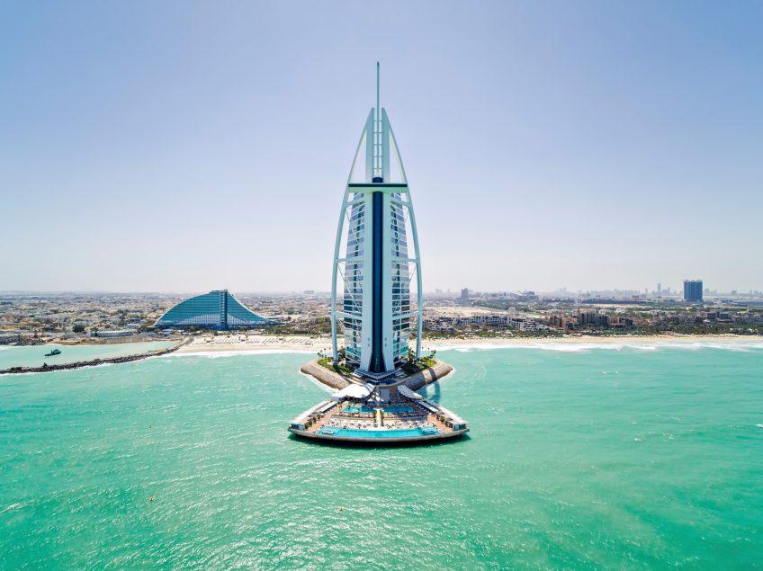 Burj Al Arab Luxury Hotel - Jumeirah St, Dubai, UAE - Tower Pool View Aerial