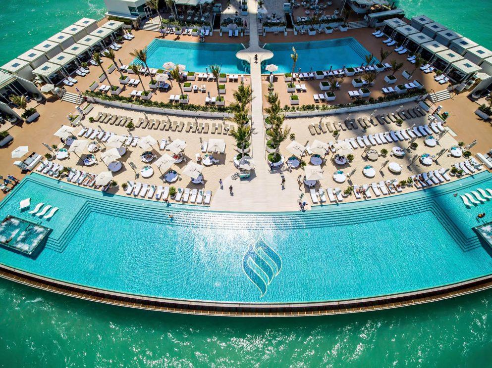 Burj Al Arab Luxury Hotel - Jumeirah St, Dubai, UAE - Infinity Pool Terrace Aerial