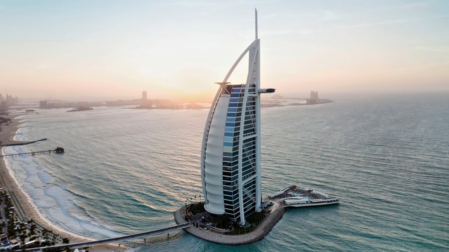 Burj Al Arab Luxury Hotel - Jumeirah St, Dubai, UAE - Tower at Dusk