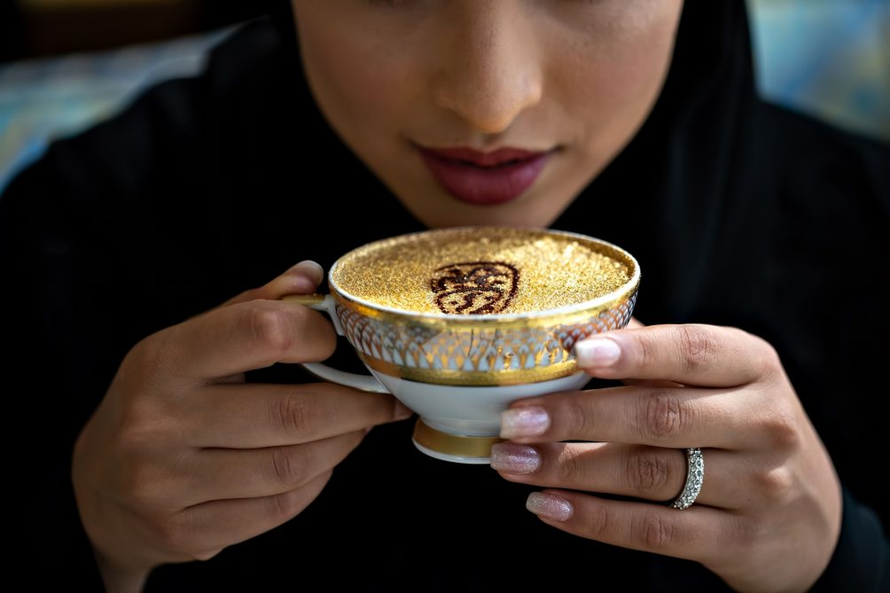 Burj Al Arab Luxury Hotel - Jumeirah St, Dubai, UAE - Sahn Eddar Lounge 24 Carat Gold Coffee
