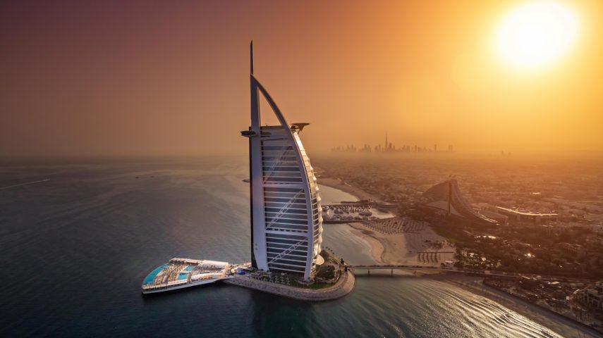 Burj Al Arab Luxury Hotel - Jumeirah St, Dubai, UAE - Sunset City View