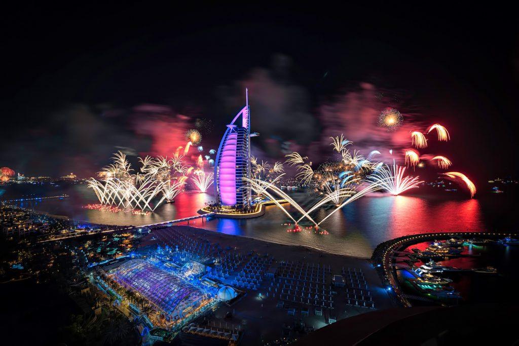 Burj Al Arab Luxury Hotel - Jumeirah St, Dubai, UAE - Night Fireworks