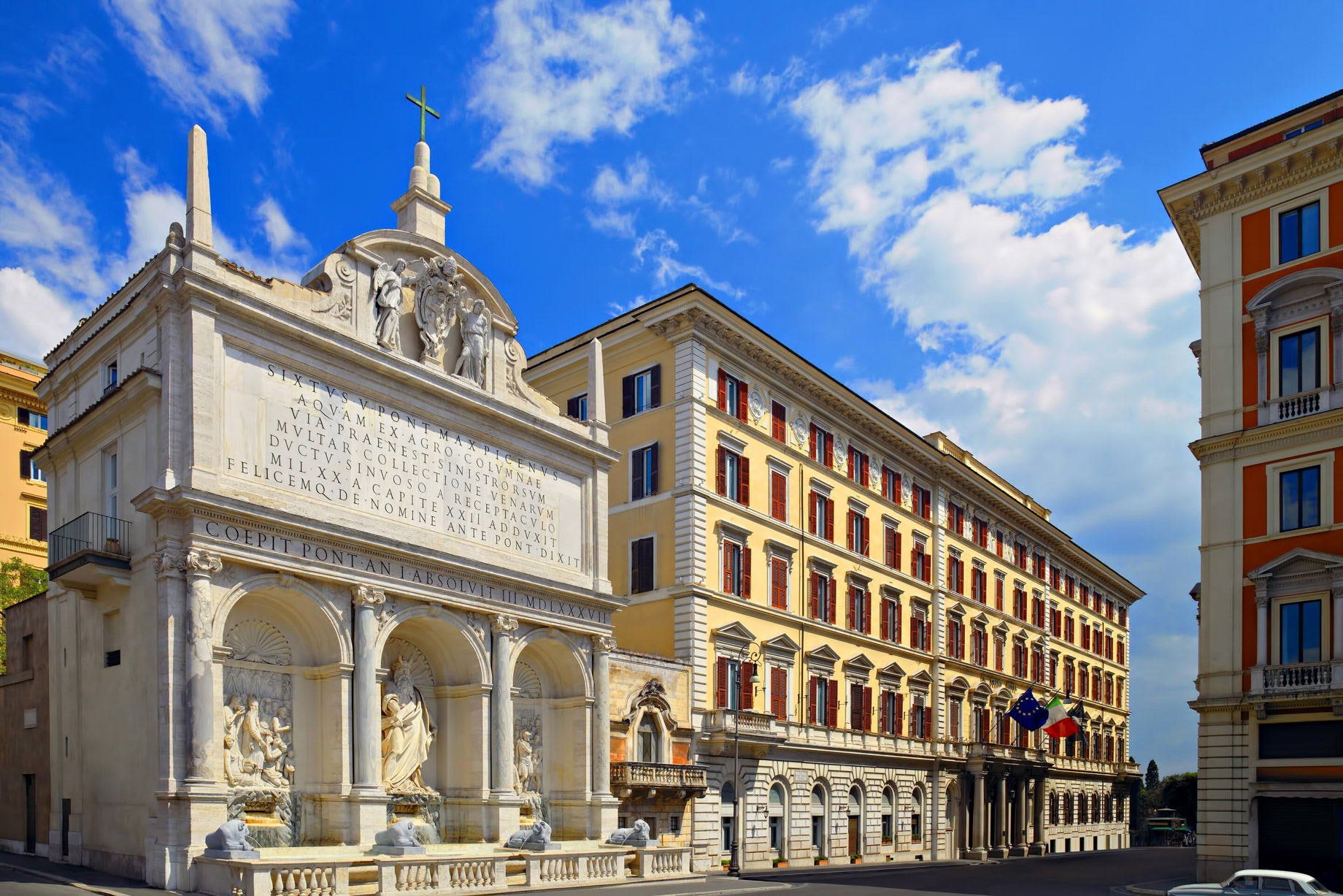 The St. Regis Rome Luxury Hotel - Rome, Italy - Hotel Facade Fountain of Moses