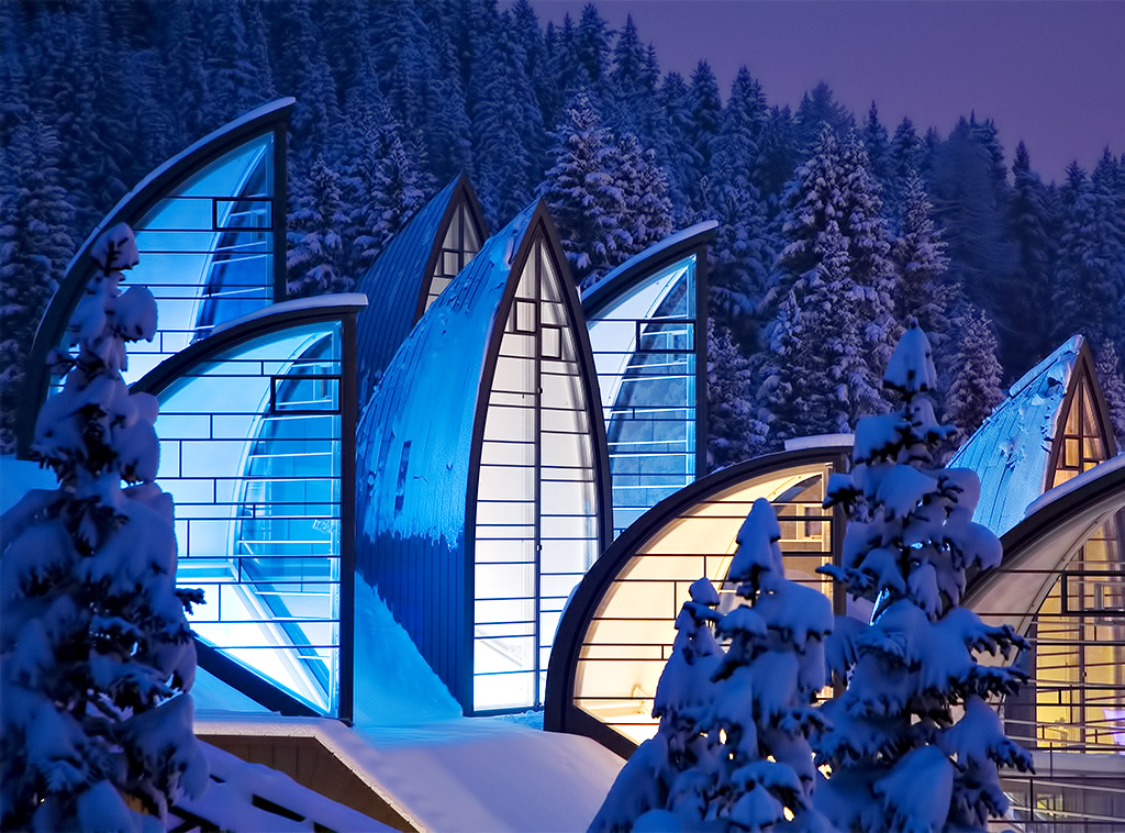 Tschuggen Grand Luxury Hotel - Arosa, Switzerland - Winter Neon Night