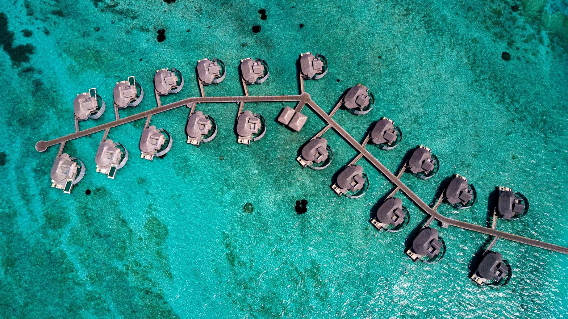 Six Senses Laamu Luxury Resort – Laamu Atoll, Maldives – Overwater Villa Aerial