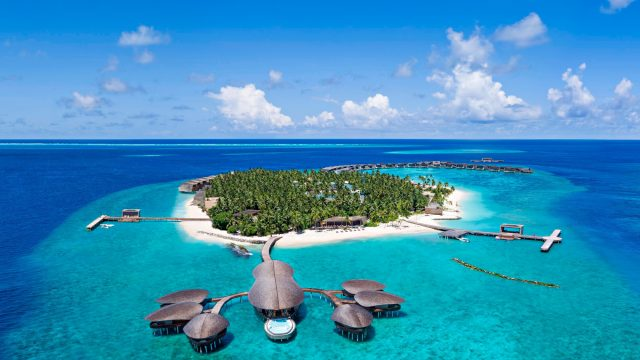The St. Regis Maldives Vommuli Luxury Resort - Dhaalu Atoll, Maldives - Aerial Vommuli Island