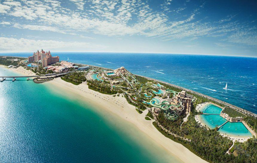 Atlantis The Palm Luxury Resort - Crescent Rd, Dubai, UAE - Aquaventure Waterpark Aerial