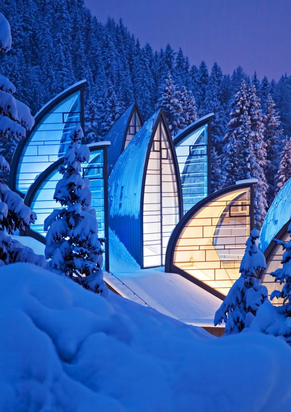 Tschuggen Grand Luxury Hotel - Arosa, Switzerland - Winter Night Snow