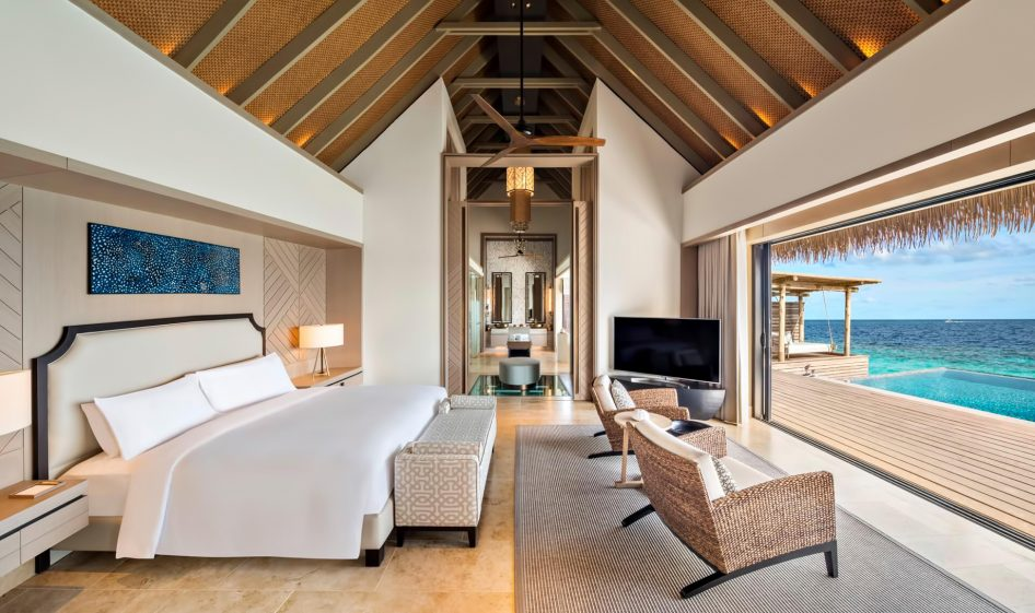 Waldorf Astoria Maldives Ithaafushi Luxury Resort - Ithaafushi Island, Maldives - Overwater Villa Master Bedroom