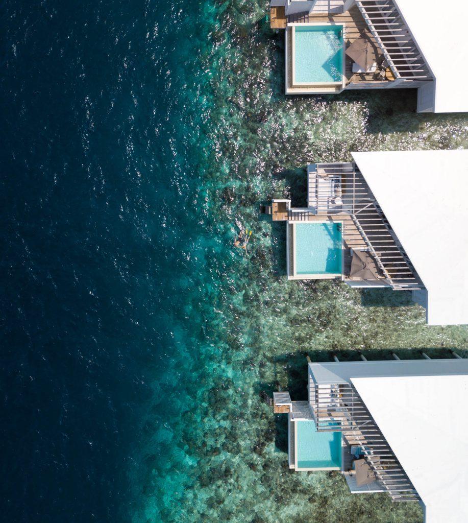 Amilla Fushi Luxury Resort and Residences - Baa Atoll, Maldives - Overwater Villa Overhead Aerial