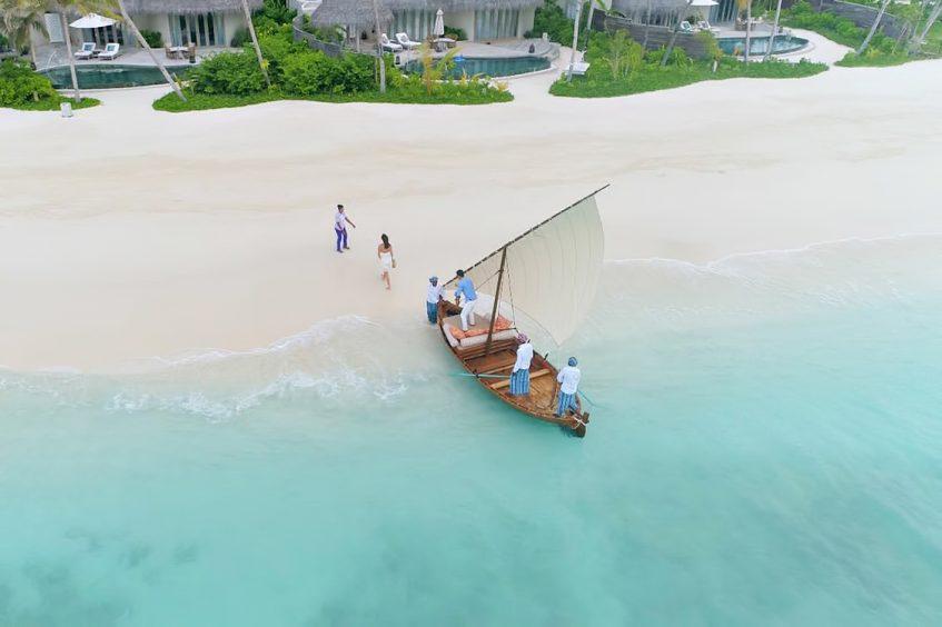 The Nautilus Maldives Luxury Resort - Thiladhoo Island, Maldives - Boat Beach Arrival