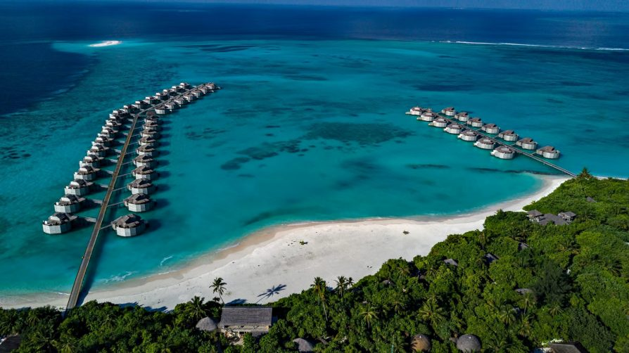 Six Senses Laamu Luxury Resort - Laamu Atoll, Maldives - Overwater Villa Aerial