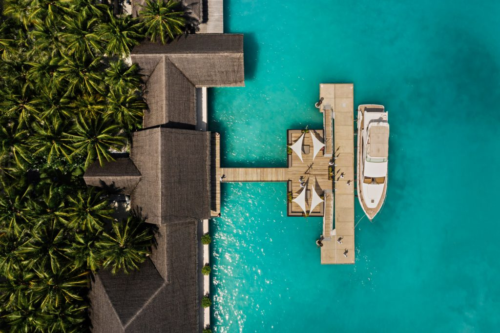 One&Only Reethi Rah Luxury Resort - North Male Atoll, Maldives - Arrival Dock Overhead View