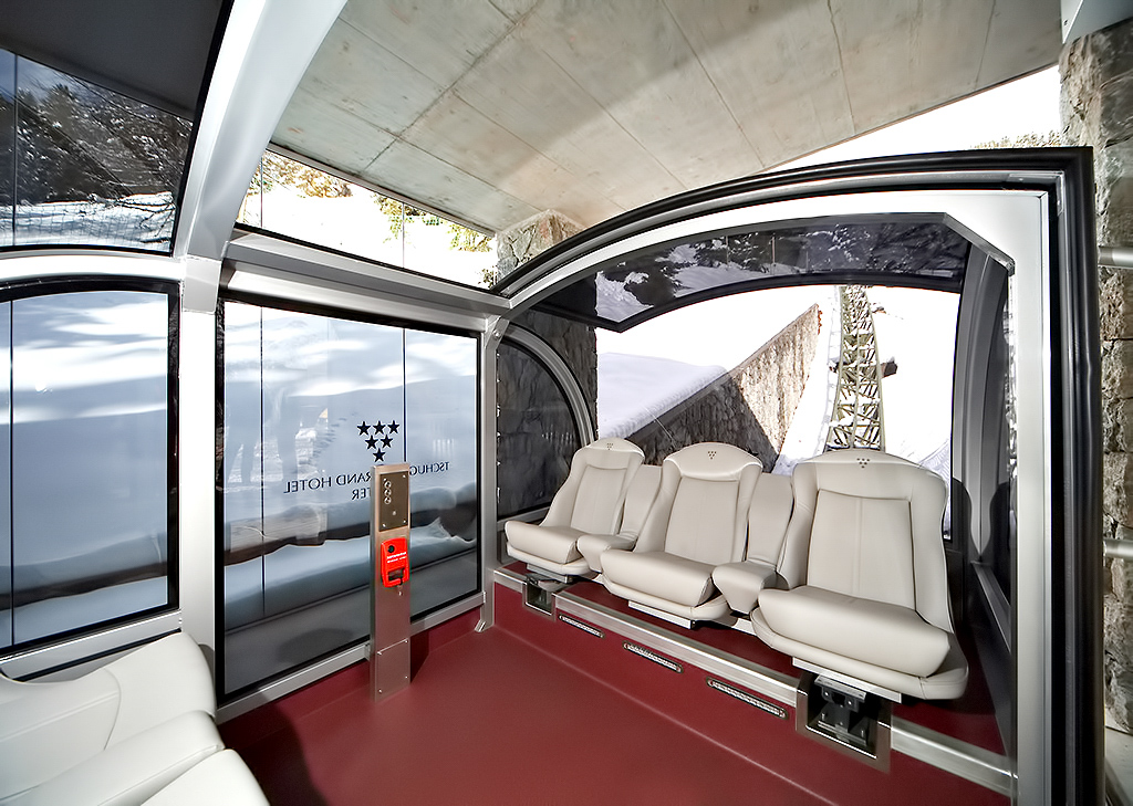 Tschuggen Grand Luxury Hotel - Arosa, Switzerland - Sky Tram Car Interior