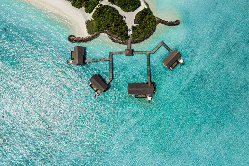 One&Only Reethi Rah Luxury Resort - North Male Atoll, Maldives - Grand Water Villa Overhead Aerial