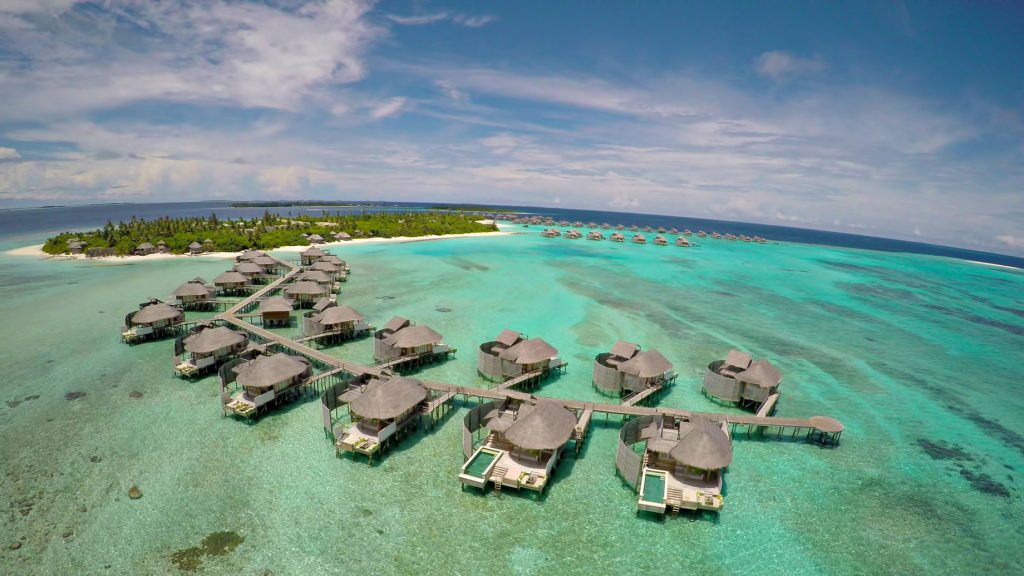 Six Senses Laamu Luxury Resort - Laamu Atoll, Maldives - Overwater Villa Aerial View