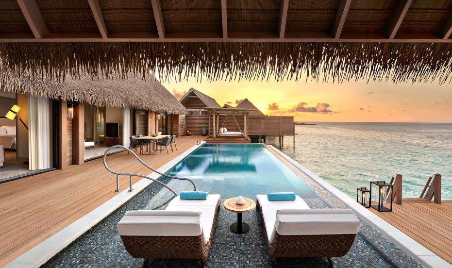 Waldorf Astoria Maldives Ithaafushi Luxury Resort - Ithaafushi Island, Maldives - Overwater Villa Infinity Pool Dusk