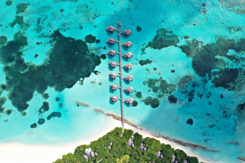 Six Senses Laamu Luxury Resort - Laamu Atoll, Maldives - Overwater Villa Boardwalk Aerial