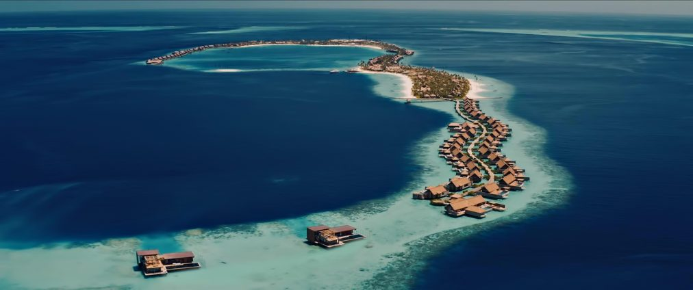 Waldorf Astoria Maldives Ithaafushi Luxury Resort - Ithaafushi Island, Maldives - Overwater Villa Aerial View