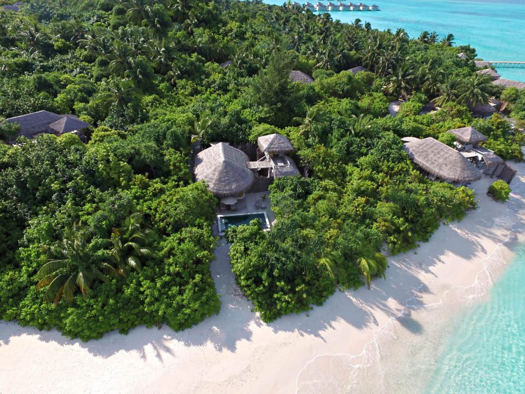 Six Senses Laamu Luxury Resort - Laamu Atoll, Maldives - Oceanfront Beach Villa Aerial