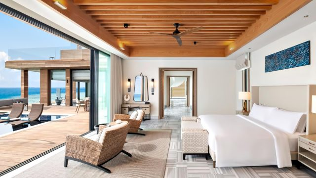 Waldorf Astoria Maldives Ithaafushi Luxury Resort - Ithaafushi Island, Maldives - Stella Maris Ocean Villa Infinity Pool Master Bedroom