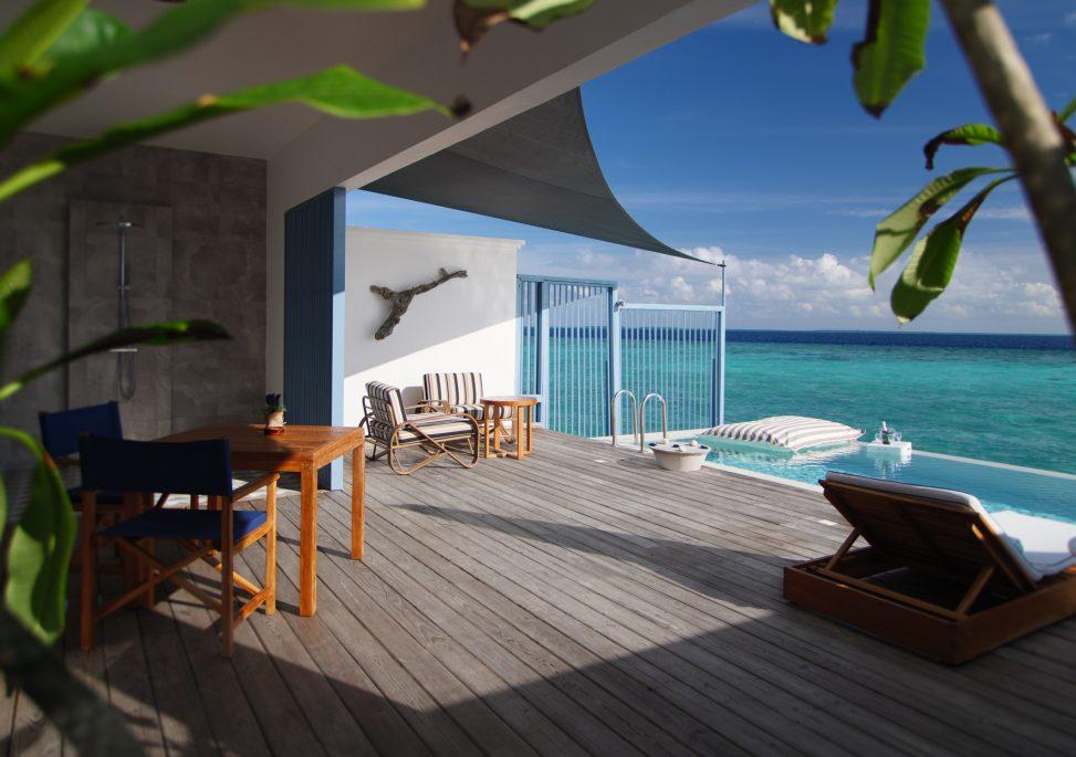 Amilla Fushi Luxury Resort and Residences - Baa Atoll, Maldives - Sunset Water Villa Overwater Pool Deck