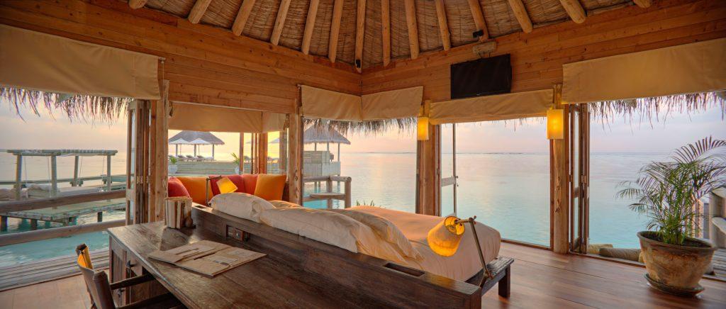 Gili Lankanfushi Luxury Resort - North Male Atoll, Maldives - The Private Reserve Master Suite Bedroom Sunrise