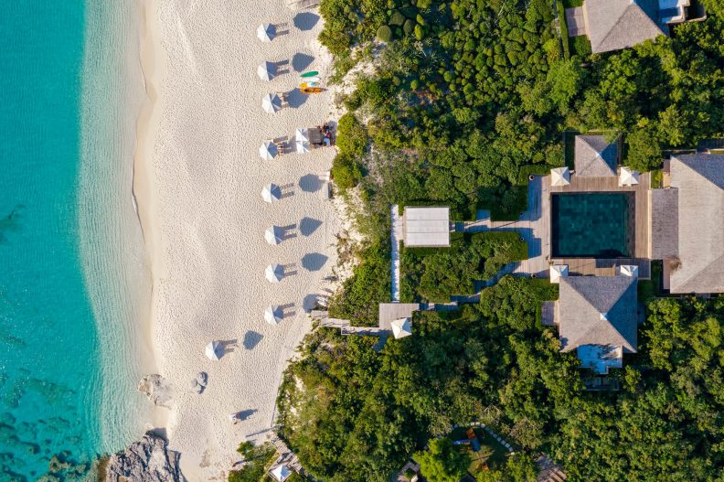 Amanyara Luxury Resort - Providenciales, Turks and Caicos Islands - Private Beach Overhead Aerial
