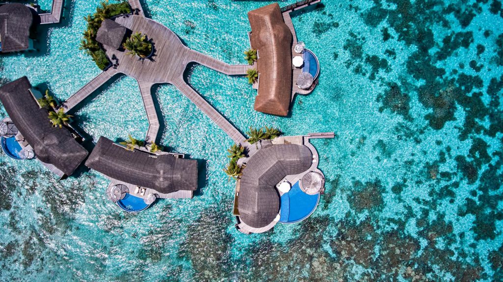 W Maldives Luxury Resort - Fesdu Island, Maldives - Overwater Bungalow Overhead View