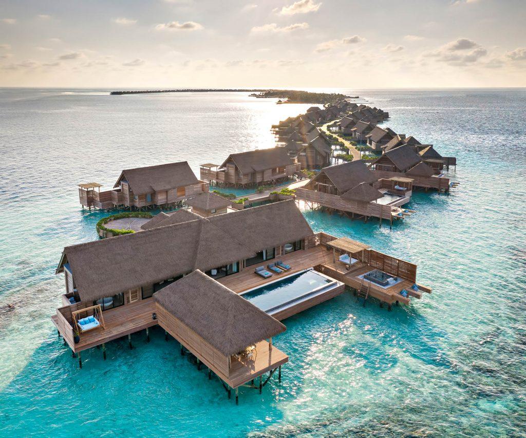 Waldorf Astoria Maldives Ithaafushi Luxury Resort - Ithaafushi Island, Maldives - Grand Overwater Villa Aerial