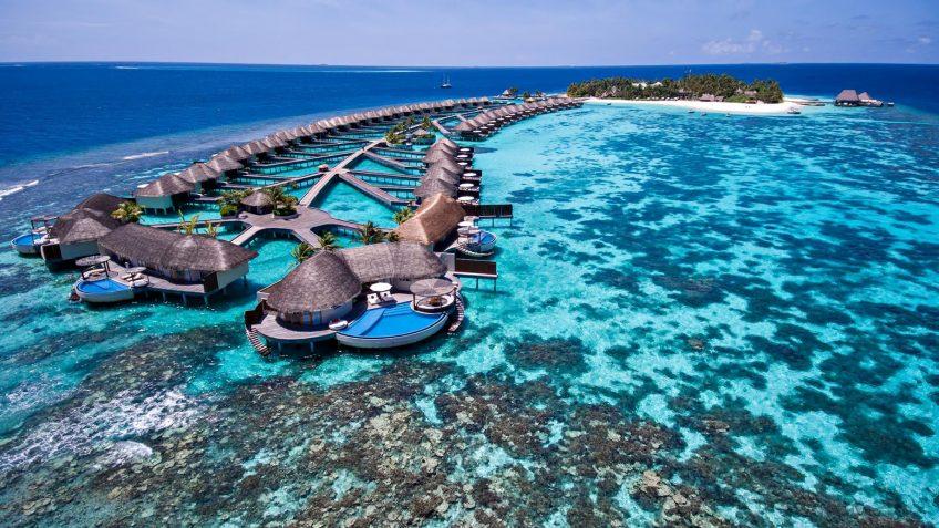 W Maldives Luxury Resort - Fesdu Island, Maldives - Overwater Bungalows Aerial View