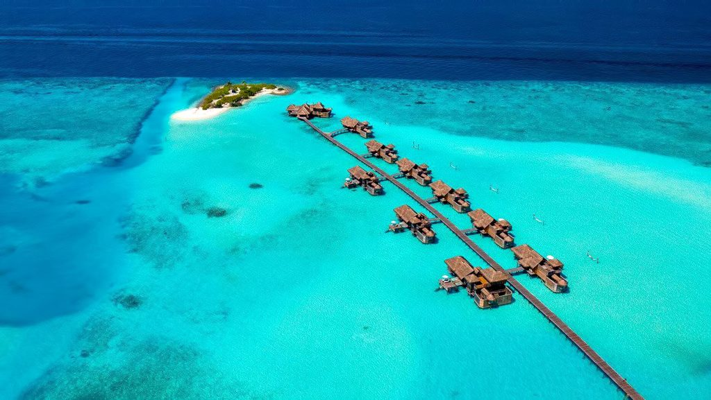 Gili Lankanfushi Luxury Resort - North Male Atoll, Maldives - Jetty 3 and Three Palm Island Aerial