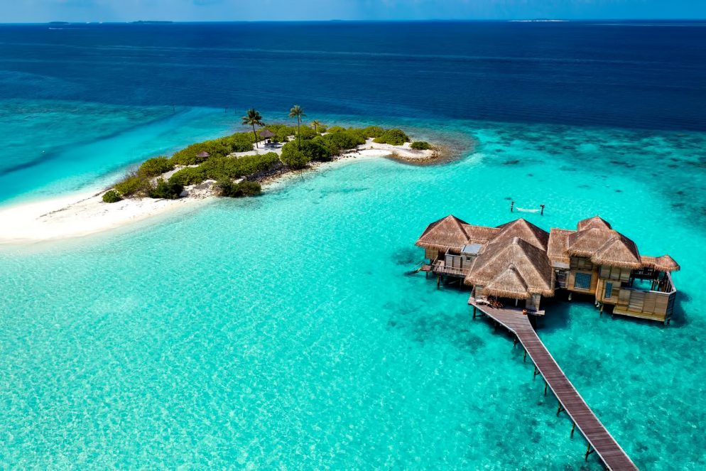 Gili Lankanfushi Luxury Resort - North Male Atoll, Maldives - 2 Bedroom Family Villa and Three Palm Island Aerial