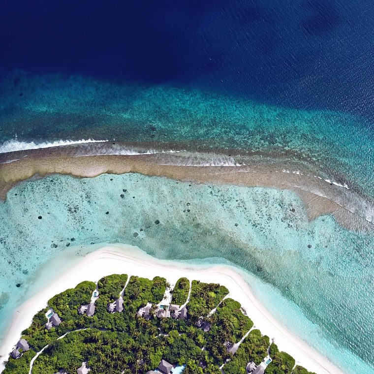 Six Senses Laamu Luxury Resort - Laamu Atoll, Maldives - Ocean Villa Beachfront Overhead View