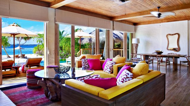 Six Senses Laamu Luxury Resort - Laamu Atoll, Maldives - Two Bedroom Ocean Beachfront Villa Livingroom