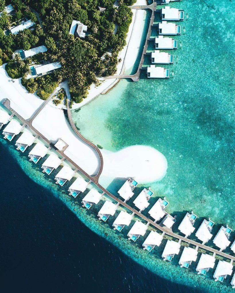 Amilla Fushi Luxury Resort and Residences - Baa Atoll, Maldives - Ocean Lagoon Overwater Houses and Villas Overhead Aerial