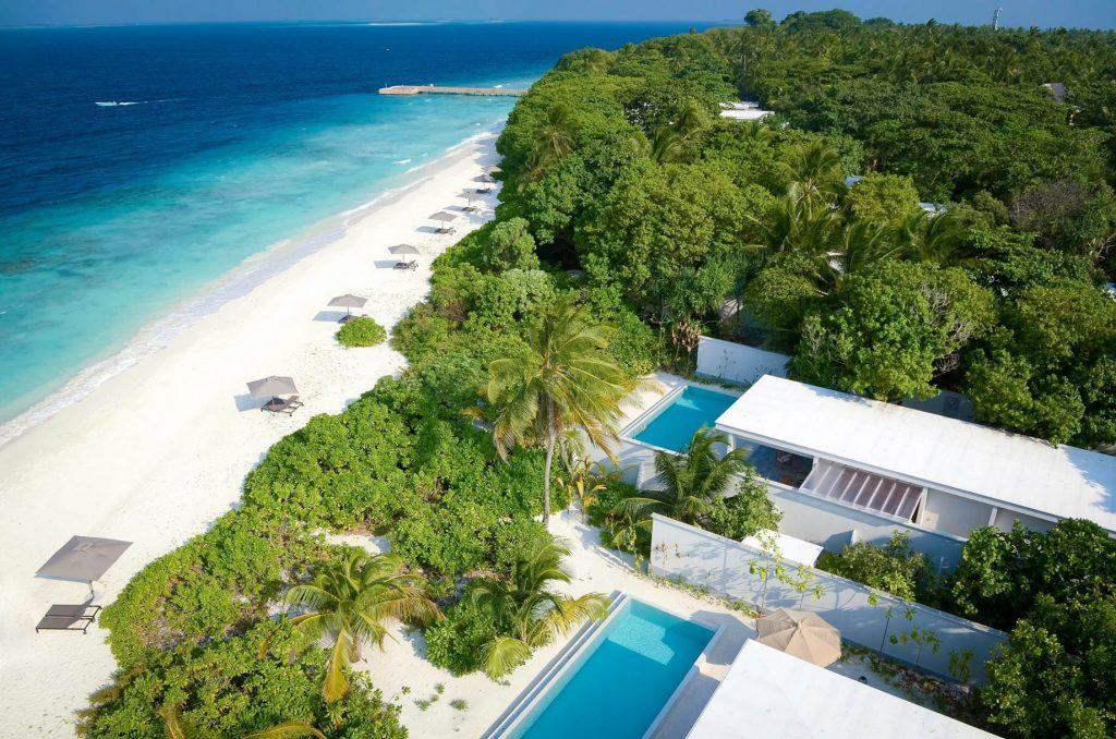 Amilla Fushi Luxury Resort and Residences - Baa Atoll, Maldives - Ocean Beachfront Houses Aerial