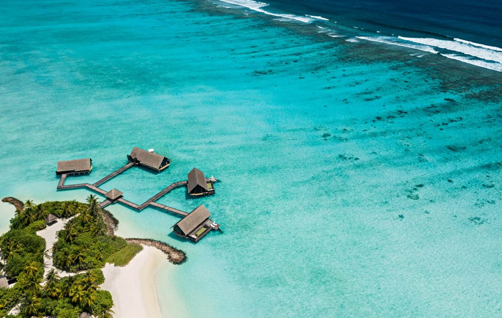 One&Only Reethi Rah Luxury Resort - North Male Atoll, Maldives - Overwater Villa Aerial View