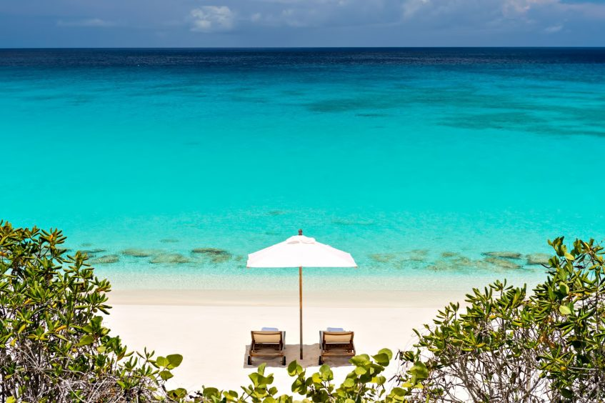 Amanyara Luxury Resort - Providenciales, Turks and Caicos Islands - White Sand Beach Chairs Turquoise Water