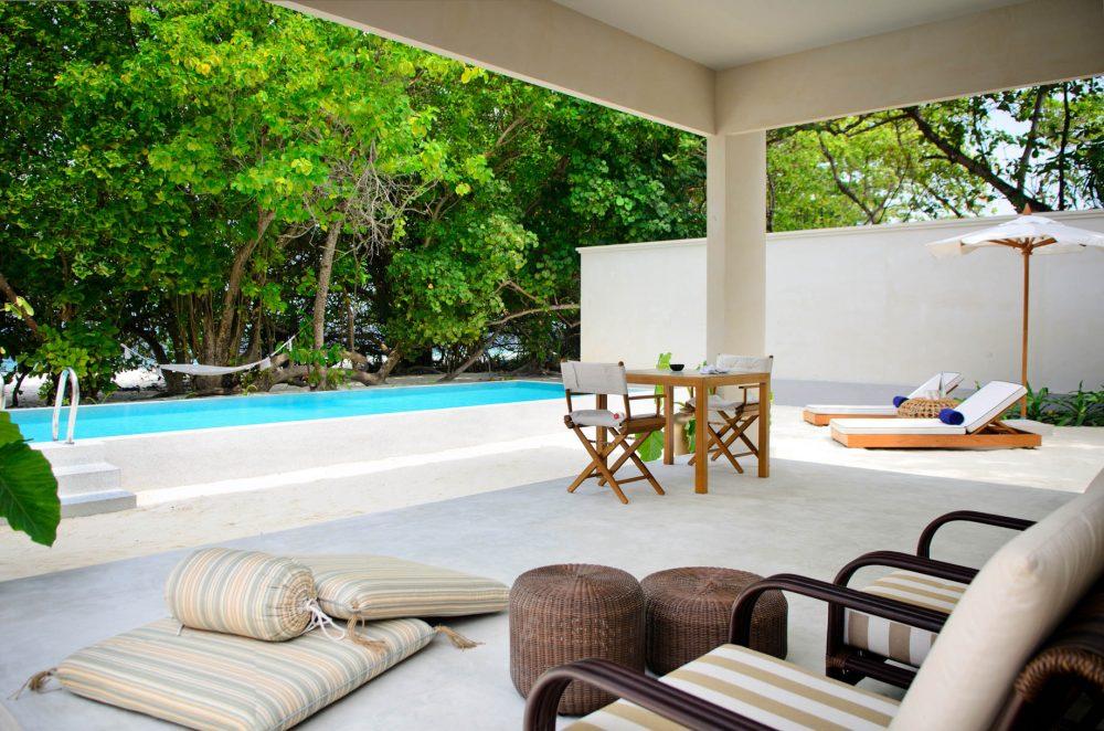 Amilla Fushi Luxury Resort and Residences - Baa Atoll, Maldives - Ocean Beach House Outdoor Poolside Patio