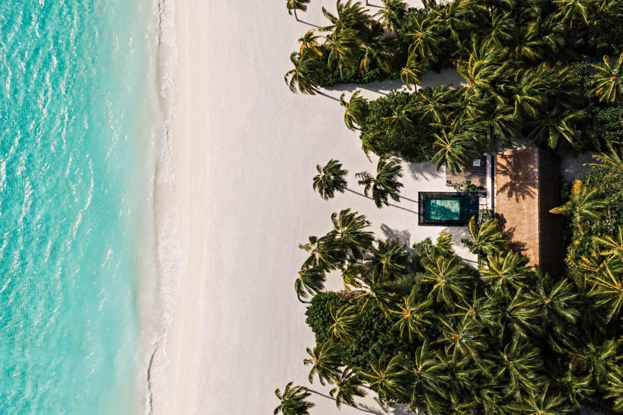 One&Only Reethi Rah Luxury Resort - North Male Atoll, Maldives - Beach Villa Overhead Aerial View