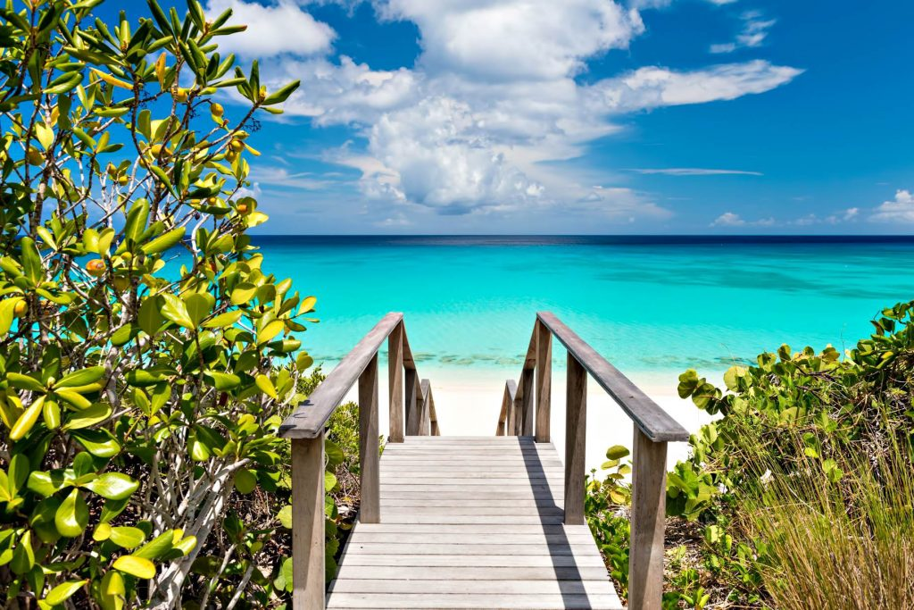 Amanyara Luxury Resort - Providenciales, Turks and Caicos Islands - Beach Stairs Turquoise Water