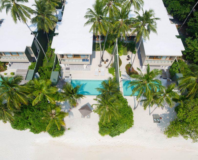 Amilla Fushi Luxury Resort and Residences - Baa Atoll, Maldives - Ocean Beachfront House Overhead Aerial