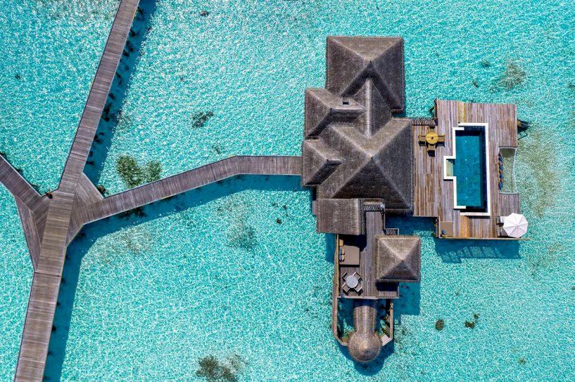 Gili Lankanfushi Luxury Resort - North Male Atoll, Maldives - Overwater Lagoon Villa Overhead Aerial