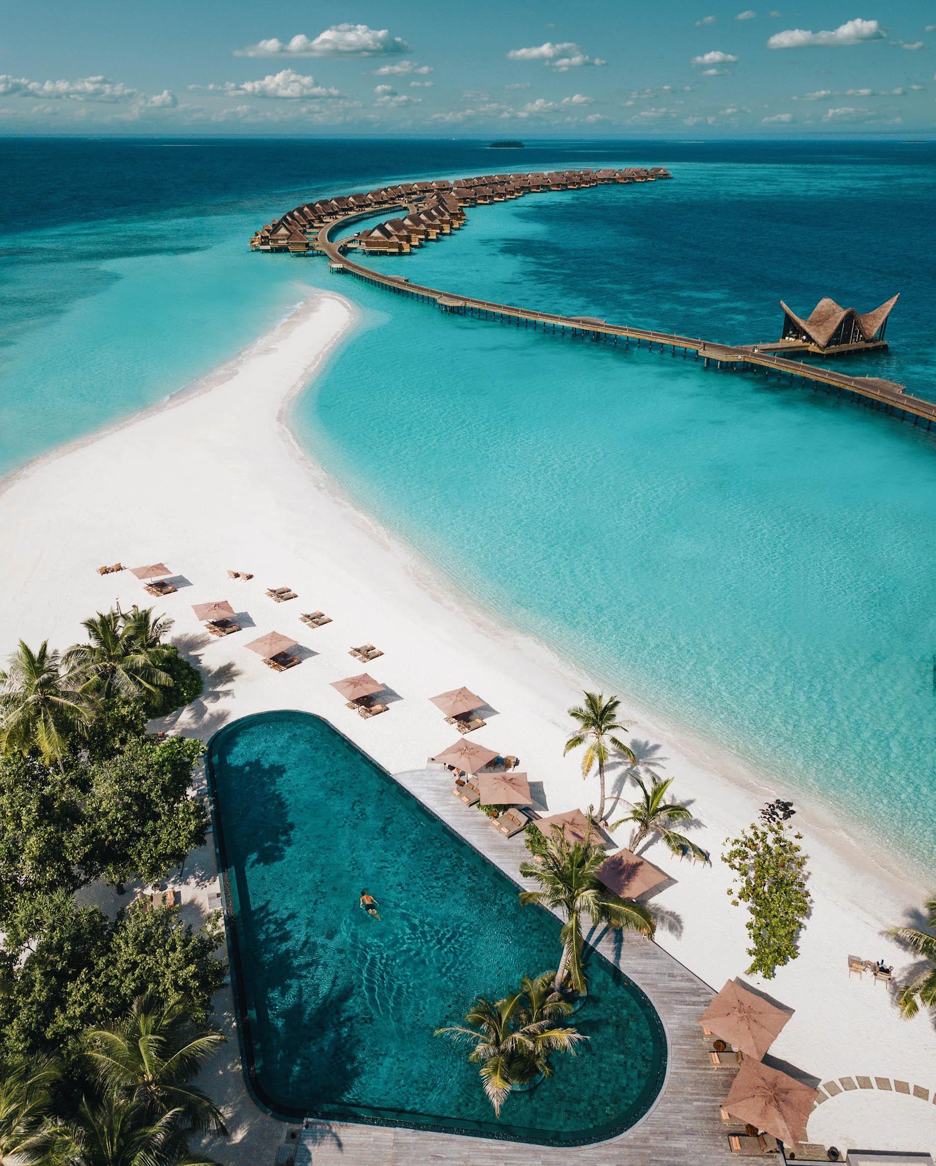 Joali Maldives Luxury Resort - Muravandhoo Island, Maldives - White Sand Beach Pool Aerial