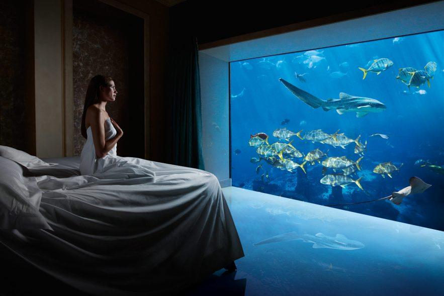 Atlantis The Palm Luxury Resort - Crescent Rd, Dubai, UAE - Underwater Suite Bedroom Aquarium View