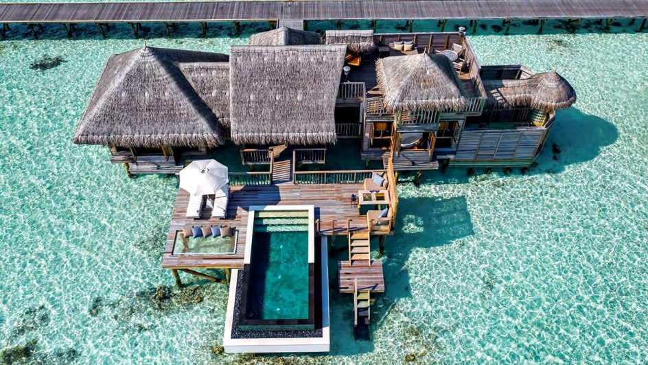 Gili Lankanfushi Luxury Resort - North Male Atoll, Maldives - Overwater Villa Infinity Pool Aerial View