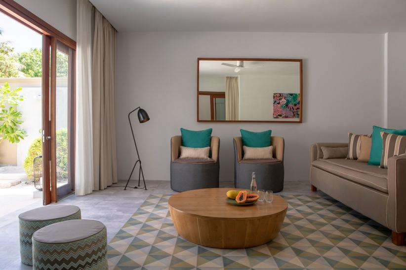Amilla Fushi Luxury Resort and Residences - Baa Atoll, Maldives - Beach Villa Living Room