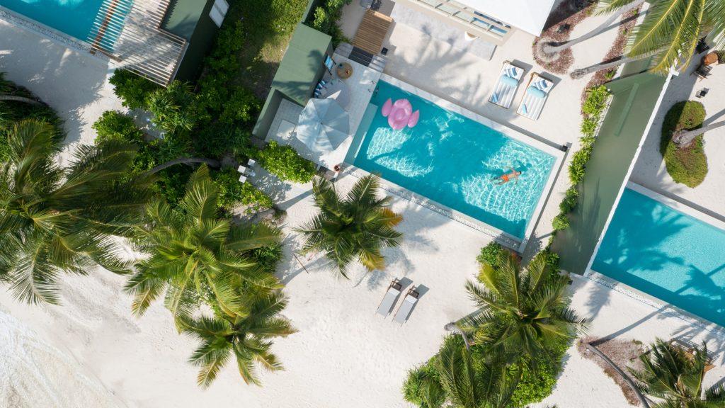 Amilla Fushi Luxury Resort and Residences - Baa Atoll, Maldives - Oceanfront Beach Villa Pool Overhead Aerial